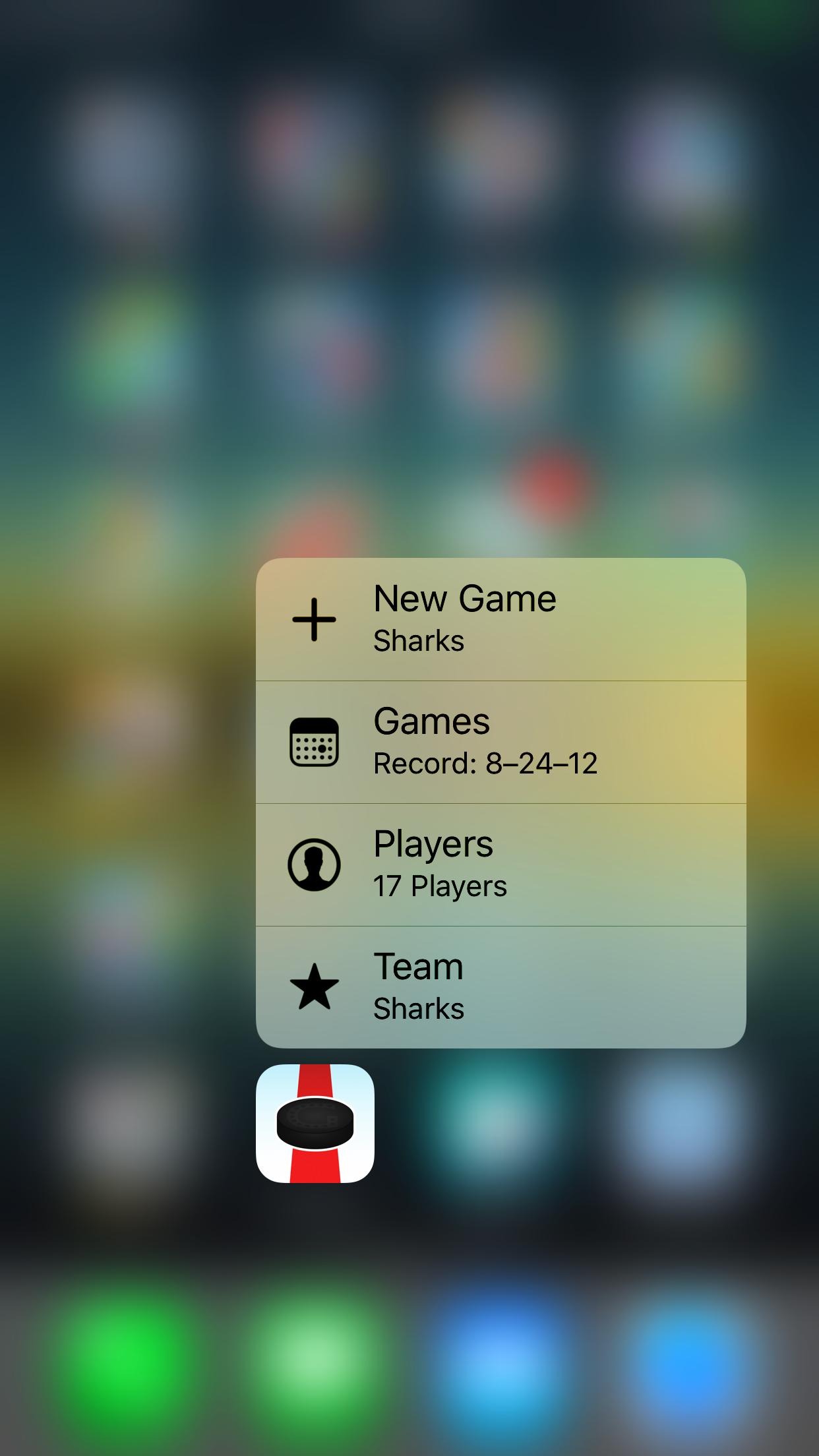 Quick menu (3D Touch)